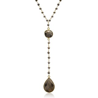 79 TGW Pyrite Pear Shape Y Bar Strand Necklace In Yellow Gold Over Sterling Silver, 36 Inches - Copper