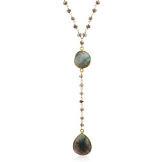79 TGW Labradorite Pear Shape Y Bar Strand Necklace In Yellow Gold Over Sterling Silver, 36 Inch