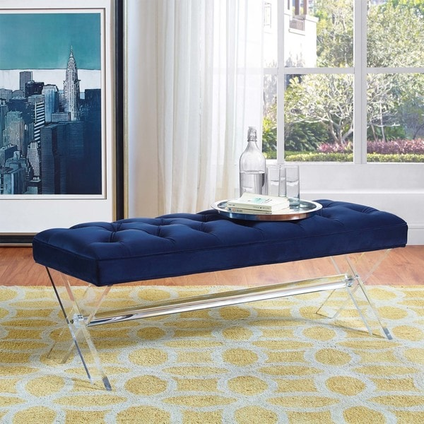 Claira Navy Velvet and Lucite Bench. Opens flyout.
