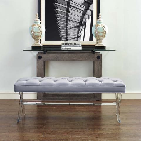 TOV-O37 Grey Velvet Acrylic Stainless Steel Finished Claira Lucite Bench