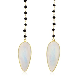 14k Yellow Gold Over Sterling Silver 99ct Pear Shape Moonstone and Black Onyx Open Layer Necklace