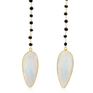 99 TGW Pear Shape Moonstone and Black Onyx Open Layer Necklace In Yellow Gold Over Sterling Silver Over Sterling Silv