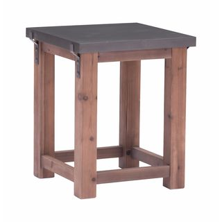 Greenpoint Collection Grey and Distressed Fir Finish MDF 23.6-inch x 19.7-inch x 19.7-inch Side Table