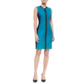 Elie Tahari Women's Block Blue Leather Dress