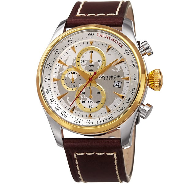 Akribos XXIV Men's Quartz Chronograph Gold-Tone Leather Strap Watch