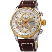 Akribos XXIV Men's Quartz Chronograph Gold-Tone Leather Strap Watch