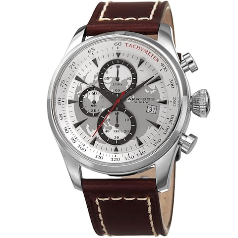 Akribos XXIV Men's Quartz Chronograph Silver-Tone Leather Strap Watch