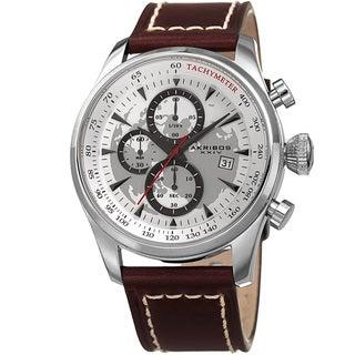 Link to Akribos XXIV Men's Quartz Chronograph Silver-Tone Leather Strap Watch Similar Items in Men's Watches