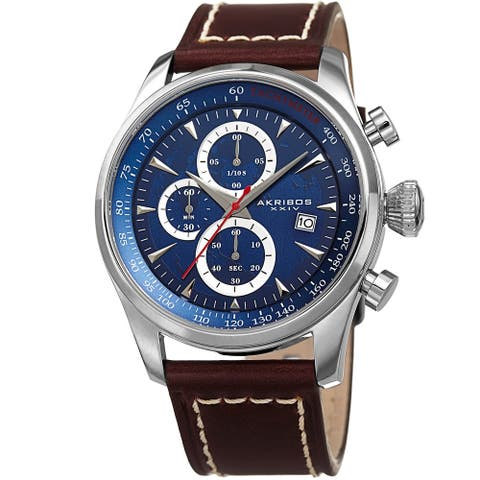 Akribos XXIV Men's Quartz Chronograph Blue Leather Strap Watch