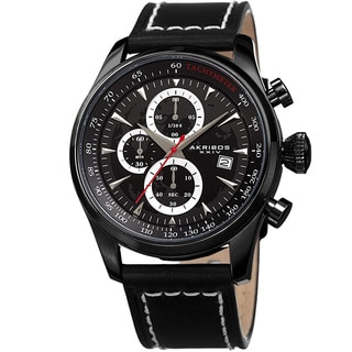 Akribos XXIV Men's Quartz Chronograph Black Leather Strap Watch