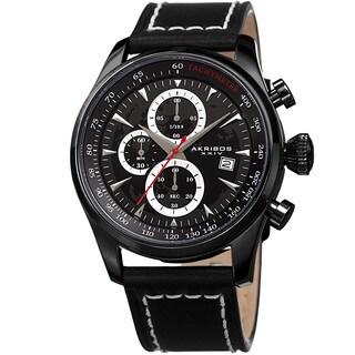 Akribos XXIV Men's Quartz Chronograph Black Leather Strap Watch