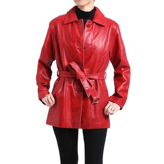 Women's Red Leather Removable Liner Wrap Coat