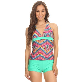 Dippin' Daisy's Women's Mint Nylon/Spandex Zipper Halter Tankini With Boyshorts
