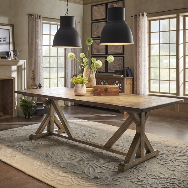 Paloma Rustic Reclaimed Wood Rectangular Trestle Farm Table by iNSPIRE Q Artisan - Brown. Opens flyout.