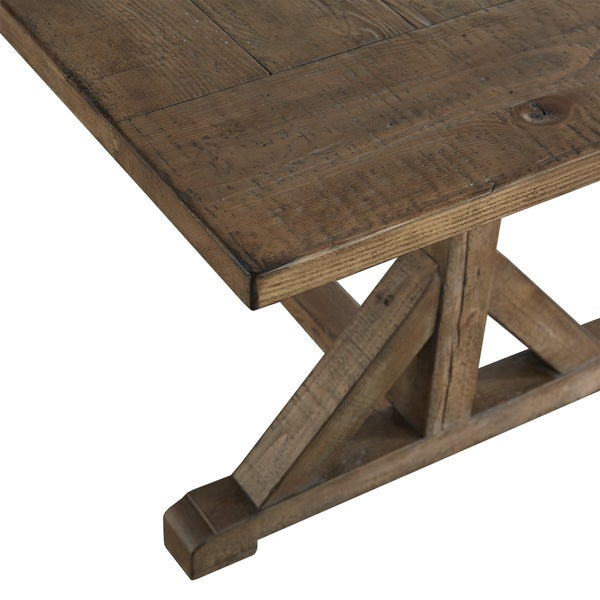 Paloma Rustic Reclaimed Wood Rectangular Trestle Farm Table By INSPIRE Q  Artisan   Free Shipping Today   Overstock.com   18845558