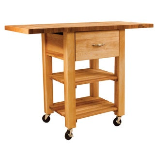 Deep Drawer Honey Wood Double Drop Leaf Cart