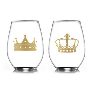 Fifth Avenue 'Crowns' Gold Crystal Stemless Drinking Glasses (Set of 2)