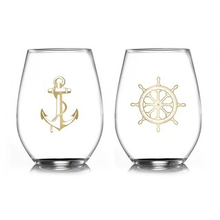 Fifth Avenue Nautical Gold Stemless Glasses (Set of 2)