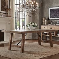Dakota Oak Reinforced Concrete Trestle Dining Table by iNSPIRE Q Artisan - Brown