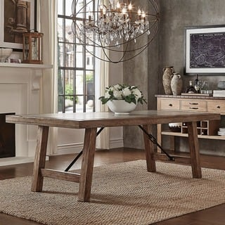 Dakota Oak Reinforced Concrete Trestle Dining Table by iNSPIRE Q Artisan. Rustic Dining Room   Kitchen Tables For Less   Overstock com
