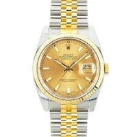 Pre-owned Rolex Mid 2000's Model 116233 Men's Datejust Two-tone Champagne Dial Watch