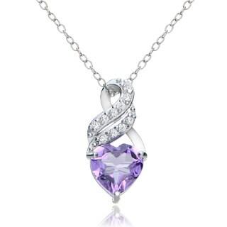 Glitzy Rocks Sterling Silver Gemstone and White Topaz Heart Twist Necklace
