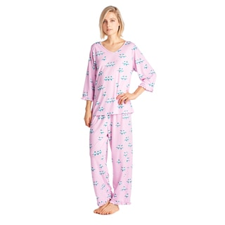 BHPJ by Bedhead Women's Blue/ Pink Polyester/ Spandex Pajama Set
