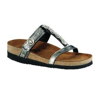 Naot Women's Malibu Silver Leather/Suede T-strap Sandal