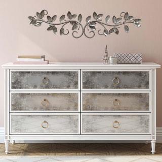 Stratton Home Decor Silver Floral Decorative Wall Scroll