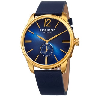 Akribos XXIV Men's Royal Blue Leather Gold-Tone Strap Watch with Gift Box