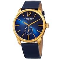 Akribos XXIV Men's Royal Blue Leather Gold-Tone Strap Watch