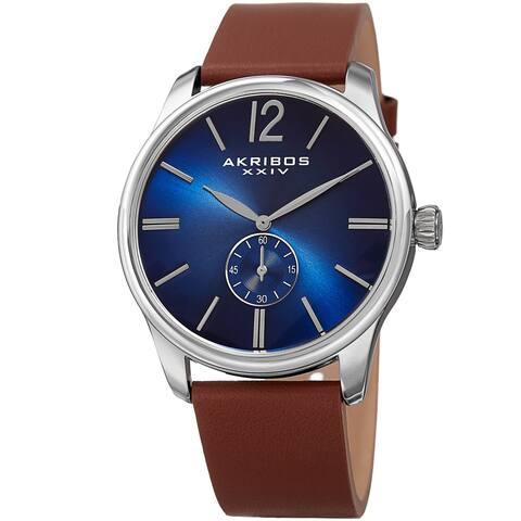 Akribos XXIV Men's Quartz Leather Blue Strap Watch