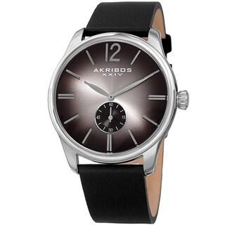 Akribos XXIV Men's Quartz Leather Black Strap Watch