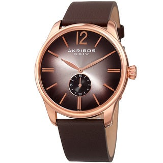 Akribos XXIV Men's Quartz Leather Brown Strap Watch