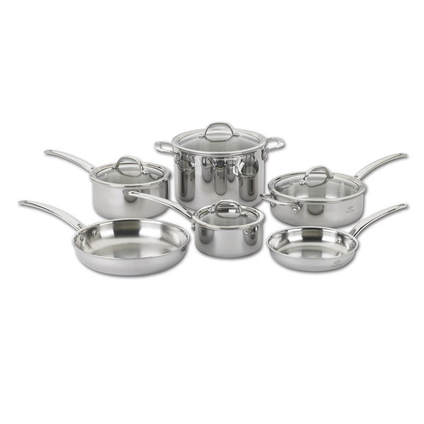 shop lenox tri ply stainless steel cookware pack of 10 free shipping today. Black Bedroom Furniture Sets. Home Design Ideas