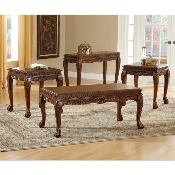 8226 Cherry Finished Veneer Mdf Deluxe Carved 3 Piece Coffee Table Set