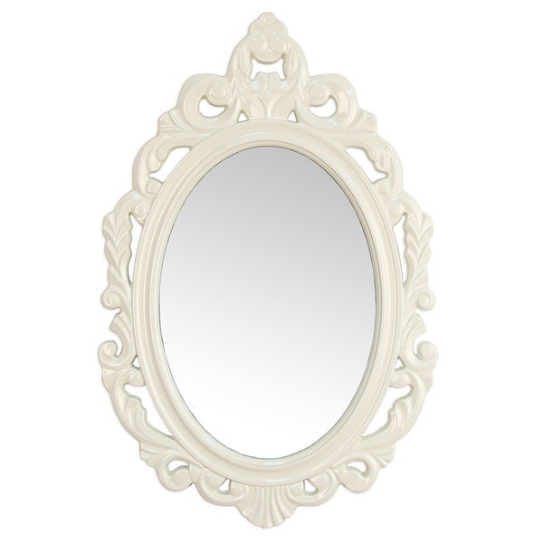 Stratton Home Decor Baroque White Wall Mirror - Free Shipping