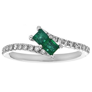 14k White Gold Emerald and 1/3ct TDW Diamond Ring (H-I, SI1-SI2)