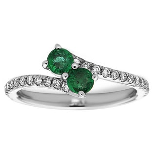 14k White Gold Emerald and 1/4ct TDW Diamond Ring (H-I, SI1-SI2)