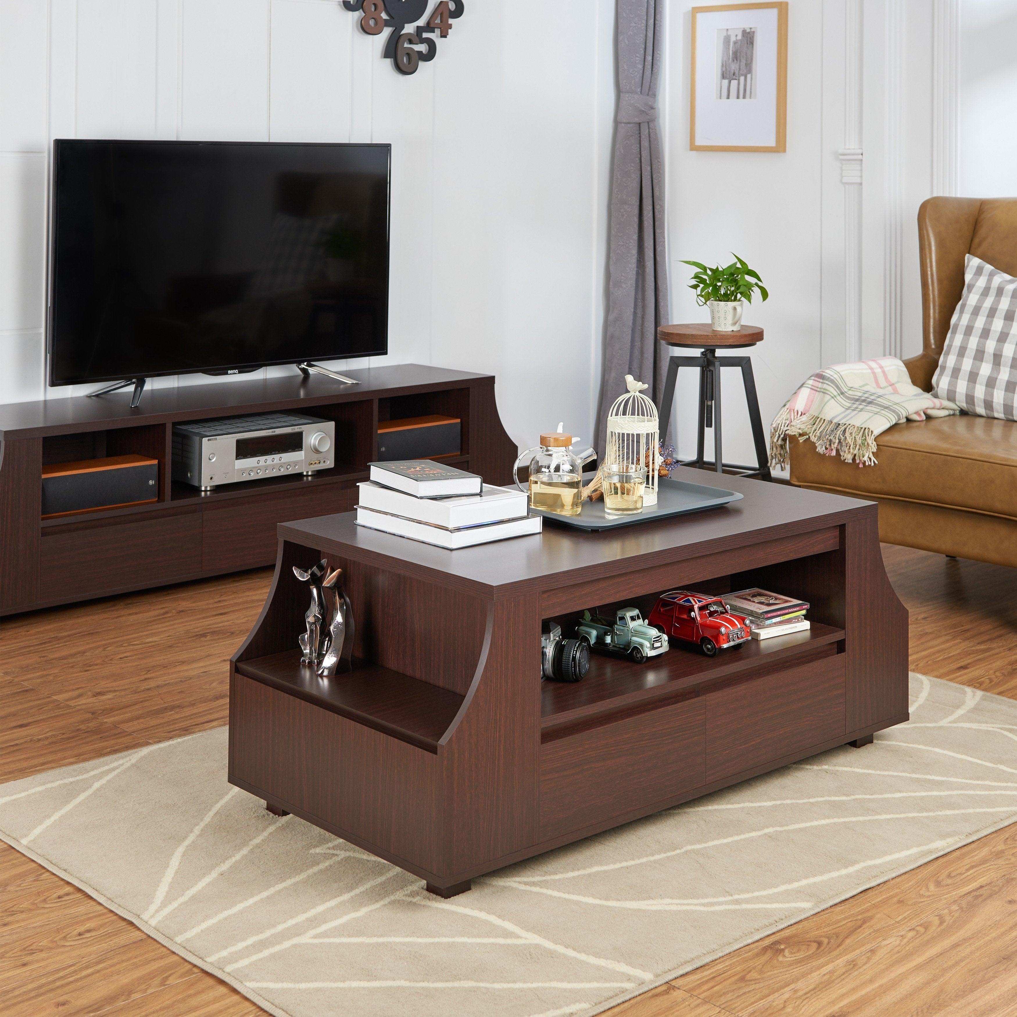 Shop Furniture Of America Basa Modern Walnut Wood Storage Coffee Table On Sale Overstock 11960831