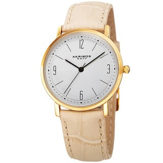 Akribos XXIV Women's Quartz Easy to Read Leather Beige Strap Watch