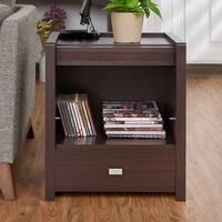 Furniture of America Regus Modern Storage End Table with Hidden Magazine Rack