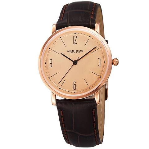 Akribos XXIV Women's Quartz Easy to Read Leather Brown Strap Watch