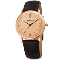 Akribos XXIV Women's Quartz Easy to Read Leather Brown Strap Watch