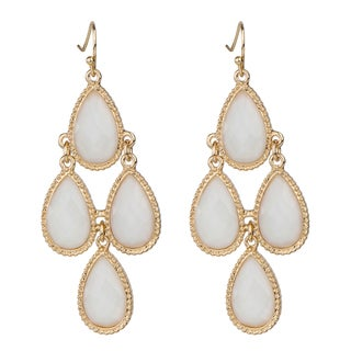 White Pear Drop Chandelier Earrings