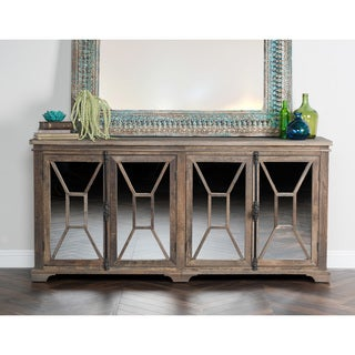 Kosas Home Brady Beige Reclaimed Elm and Iron 4-door Detailed Mirrored Sideboard