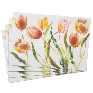 Tulips Woven PVC 13-inch x 19-inch Placemat Set (Pack of 4)