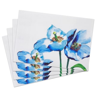 'Open Flower' PVC Woven 13-inch x 19-inch Placemats (Set of 4)