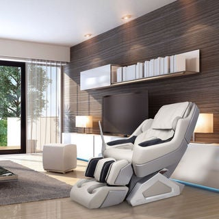 Dynamic 7800S Manhattan Ivory Faux-leather Zero Gravity Neck to Lower Back 3D Rollers Massage Chair