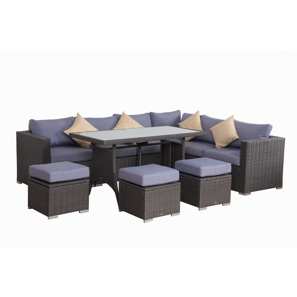 Broyerk Blue Grey Rattan 10 Piece Patio Furniture Set